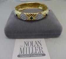 Gently-Used,Vintage, NOLAN MILLER, Gold Emerald Green Rhinestone Bangle Bracelet