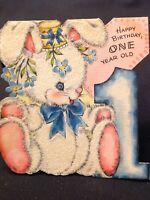 #1012🌟Vintage 1948 Hallmark Children's Greeting Card BUNNY 1st Birthday FLOCKED