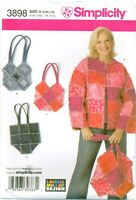 Simplicity 3898 Misses Patchwork Jacket & Bags Purse Sewing Pattern UNCUT FF NEW