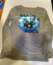 EUC Justice Girls Long Sleeve Shirt Top Tunic Ready to Rock Drum Gray Size 8