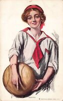 Postcard Woman Girl Holding a Large Basketball~126472
