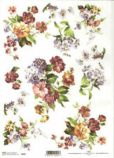 Rice Paper for Decoupage Scrapbooking, Orange Red Blue Flowers   A4 ITD R094