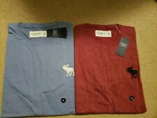 NWT Abercrombie & Fitch Exploded Icon Crew Neck T-Shirt M or XL Blue or Red