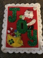 Vintage Felt Beaded Sequin Christmas Light Switch Cover Hand-stitched Santa Joy