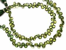"Natural Gem Bottle Green Apatite 5 to 6MM Heart Shape Briolette Beads 9"""