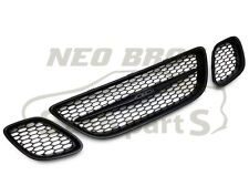 for SAAB 9-3 Sport 03-07, 3 piece Honeycomb Mesh Front Grill Grille Kit - Black