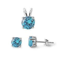 Round Blue Topaz .925 Sterling Silver Pendant & Earrings Set