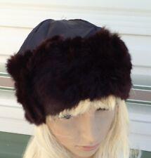 brown real genuine rabbit fur pelt satin lining head ear warmer unisex hat ski