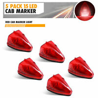 5 Pack Triangle Red 15LED Cab Roof Top Clearance Marker Light Truck Trailer Bus