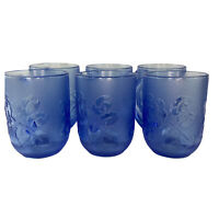Arcoroc France Cristal d'Arques Durand Blue Frosted Glass Coffee Tea Cups Mugs
