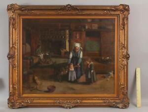 Antique 19thC Signed Interior Genre  Mother & Children Continental Oil Painting