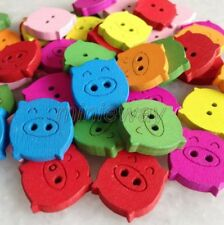 100 Pcs Mixed Color Animal Pig Wooden Button For Sewing/Scrapbook Crafts mnk200