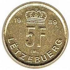 Luxemburg 1989 vergulde / gold plated 5 franc (goud030)