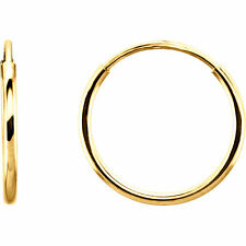 14kt Yellow Gold 12mm (tiny) Round Endless Hoop Earrings