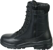 Black Leather Army Patrol Combat Boots SIDE ZIP Security Cadet Military 923