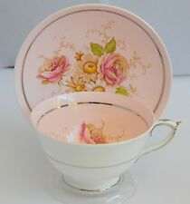 Paragon England  Light  Pink  Silver  Cup and Saucer With  Floral Design