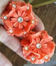 Old Vtg SOFT PLASTIC Layered CORAL & RHINESTONE Mum Flower FLORAL Clip Earrings