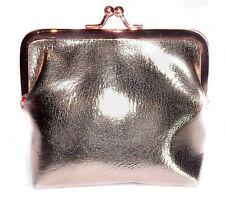 Gisela Graham Metallic PU Rose Gold Pink clasp/kissing coin purse