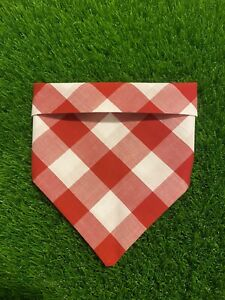 Pet Dog Scarf Extra Small SNeck Scarf Bandana Handmade Accessories Red Gingham