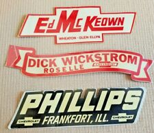 3 Old  RARE Stickers Dealer Emblems Chevrolet Illinois Frankfort Roselle Wheaton