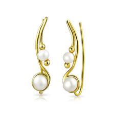 Freshwater Pearl Ear Climbers Earrings 14K Gold Plated Sterling