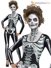 Ladies Skeleton Catsuit Fancy Dress Costume Adults Sexy Halloween Womens Outfit