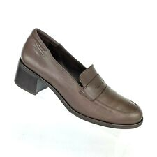 Rockport Brown Penny Loafers Block Heel Leather Shoes Womens Size 9