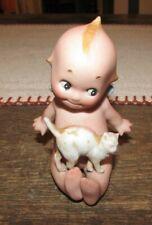 Rare 1910's Rose O'Neal Action Kewpie Bisque Figurine w/ Cat