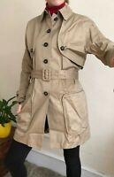 £450 Opening Ceremony Designer Trench Coat S 8 10 Sand Beige Unusual Cut