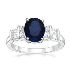 Natural Australian Blue Sapphire oval Sterling Silver Ring White gold over