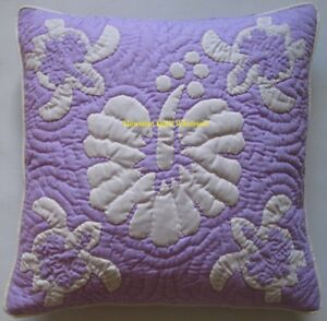 2 Hawaiian quilt handmade hand quilted/appliquéd cushions pillow covers TURTLES
