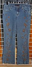 SIZE 6 WILLI SMITH JEANS WITH BROWN BEADED FLARE JEANS