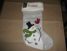 "GREY WITH WHITE CUFF LARGE CHRISTMAS STOCKING SNOWMAN PERSONALIZED ""KADEN"""