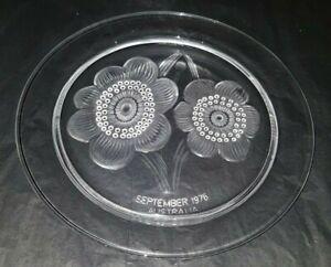 Lalique Glass (Signed) Marc Lalique September 1976 Australia Commemorative Plate