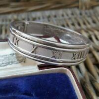 Vintage Sterling Silver Bracelet, Roman Numerals Bangle, Designer,  Heavy