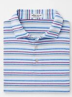 NWT Peter Millar Polo Golf Shirt Crown Sport S/S Frost Blue Striped Size XL