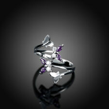 Classic 18K White Gold Filled Purple CZ Crystal Butterfly Wedding Ring
