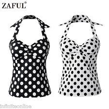 Zaful Womens Vintage Pinup Blouse Top 50s gypsy Polka Dot Halter Sleeveless Top