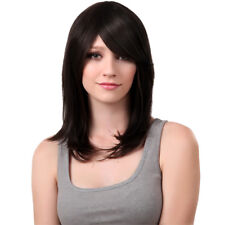 Full Lace Women Straight 100 Real Human Hair Wigs Cap Side Bangs Black