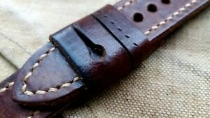 24mm AMMO Punch leather Vintage old school Handmade watch strap, brown