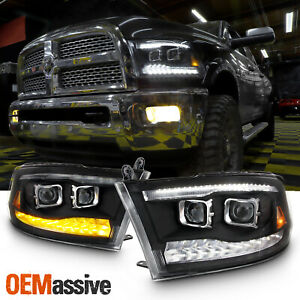 Fit Dodge Ram 09-18 1500 2500 3500 Black LED/DRL Dual Projector Headlights Lamps