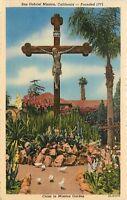 Linen Postcard CA D262 San Gabriel Mission Cross in Garden California ca1940s