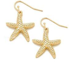 Gold Starfish Sea Star Dangle Hook Earrings Womens Jewelry Sea Life 5-7