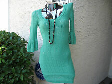 BETSEY JOHNSON NWOT VINTAGE SMALL GREEN CROCHET 3/4 BELL SLEEVE SHEATH DRESS