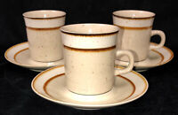 "3 Sango Rainbow Stoneware *CAPRI* BROWN* 3 1/2"" CUPS & SAUCERS* 651"