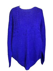 Hand Made Hand  Knitted Cable Knit Electric Blue Wool Jumper Size L (D4)