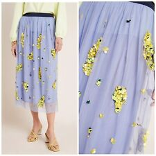 Anthropologie x Delpozo Sold Out Embellished Tulle Skirt Lilac Blue Medium