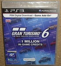 GRAN TURISMO 6 1 MILLION GAME CREDITS POINTS CARD CASE PACK BRAND NEW SEALED!