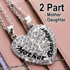 Mother & Daughter Silver Heart Necklaces Gifts For Her Girl Mum Grandma Women