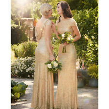 UK Ladies Wedding Bridesmaid Ball Gown Cocktail Party Evening Sequin Maxi Dress